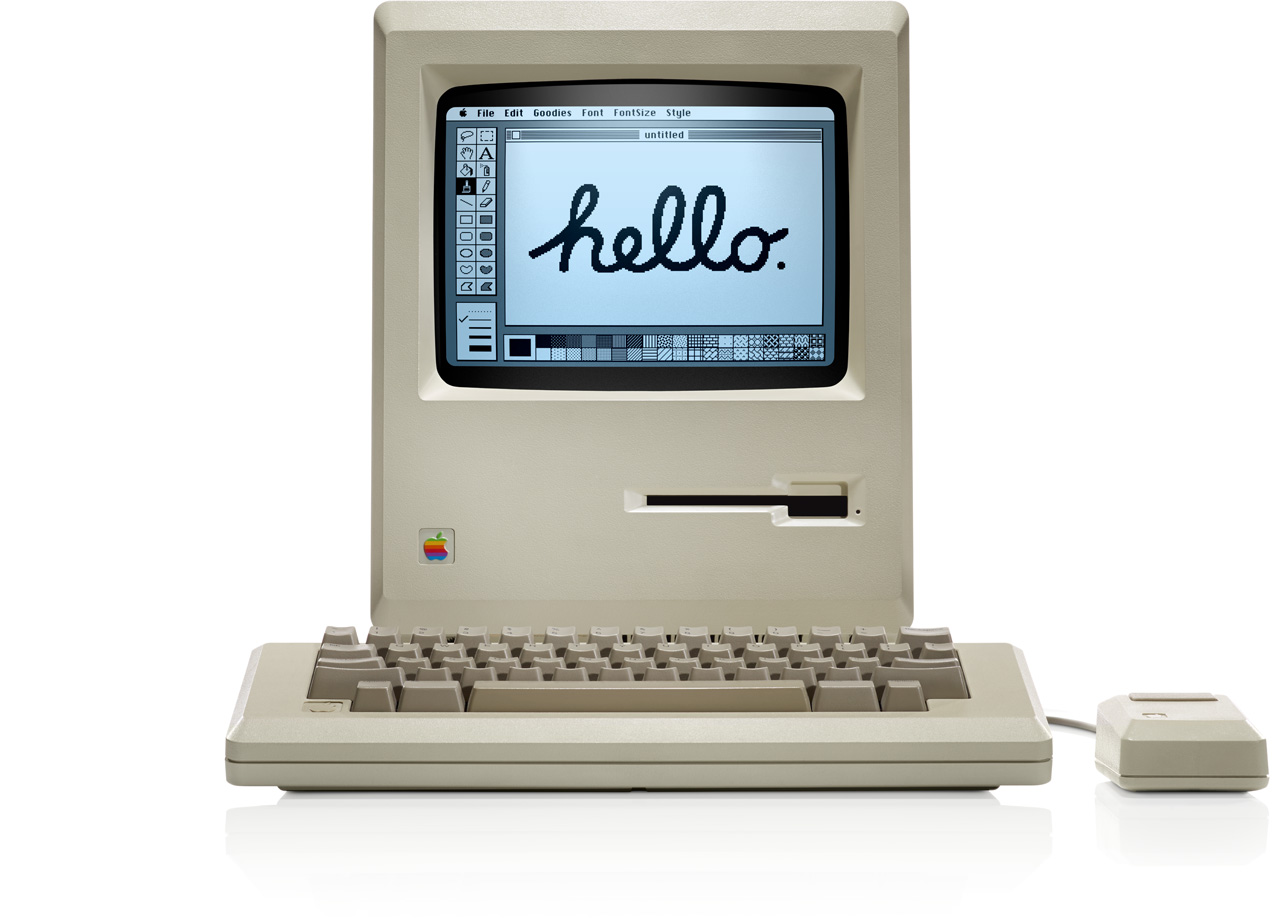 Le micro-ordinateur Apple Macintosh, créé en 1984 par Steve Jobs